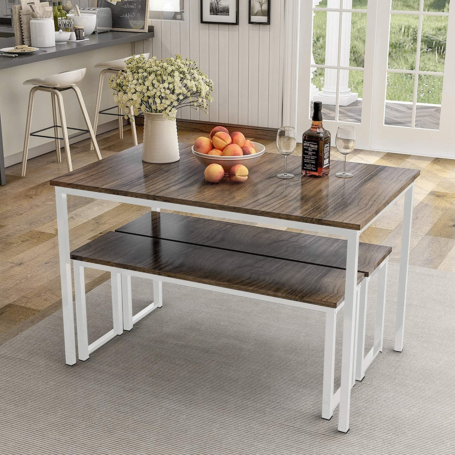 3 Piece Dining Table Set Contemporary Kitchen Dinner Table With 2 Benches For Home Or Hotel Dining Room Bar Pub Small Spaces Home Furniture Furniture Kitchen Dining Room Furniture Florent Dejardin Fr