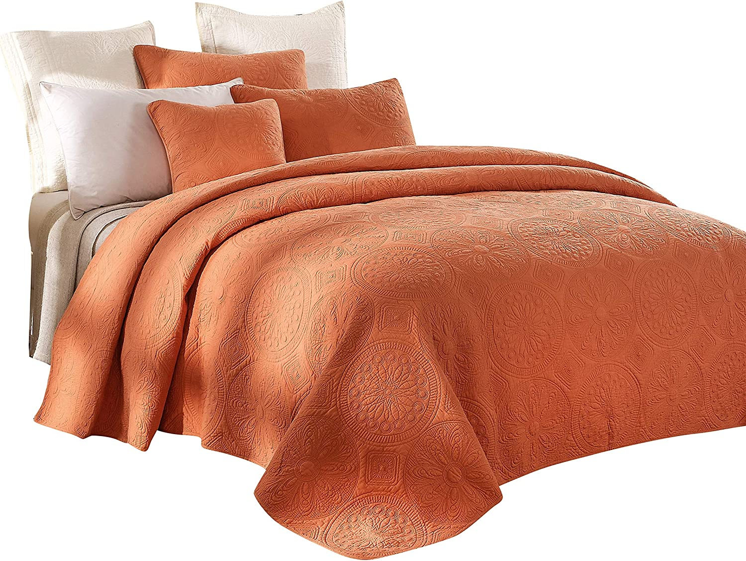 Tache Cotton Pastel Orange Rustic Stone Washed Reversible Matelassé Lightweight Tuscany Sunrise Floral Quilted Bedspread 3 Piece Set, King