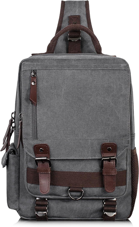 H HIKKER-LINK Canvas Messenger Bag Retro Sling Backpack Crossbody Satchel Gray Vintage