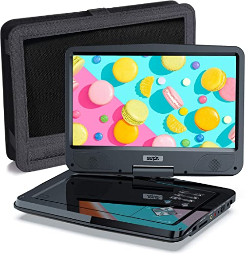 Portable DVD Player 12.5″ for Car and Kids, 10.1 inch Eyesight Protective HD Swivel Screen, Stereo Speakers&Dual Earphones Jack