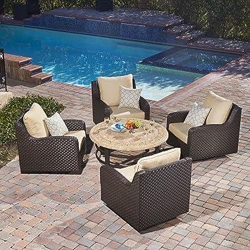 Sunbrella Deep Seating Outdoor Chat Set Swivel Glide Rocking Club Aluminum  Wicker Bistro Patio Furniture,