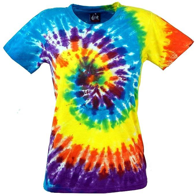 GURU-SHOP, Camiseta Batik, Camiseta Tie Dye Goa Rainbow, Amarillo/Azul, Algodón, Tamaño:S (36), Camisetas, Camisetas, Camisetas: Amazon.es: Ropa y ...