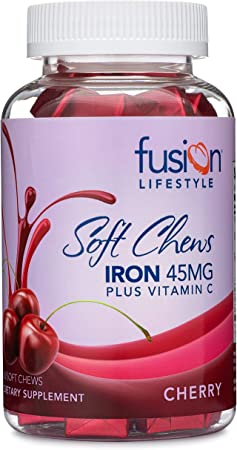 Fusion Lifestyle Iron Supplement for Women and Men, Cherry Flavored Iron Soft Chew Plus Vitamin C for Iron Deficiency and Anemia, 2 Month Supply, 60 Count