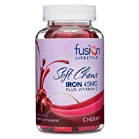 Fusion Lifestyle 45 mg Iron Supplement Cherry Flavored Soft Chew Plus Vitamin C,...