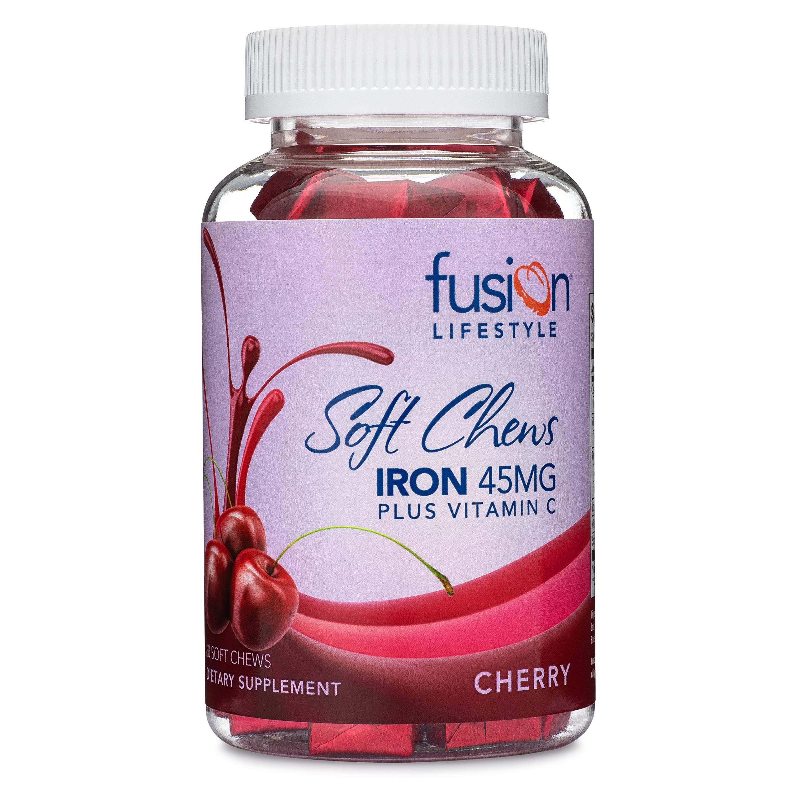 Fusion Lifestyle 45 mg Iron Supplement Cherry Flavored Soft Chew Plus Vitamin C