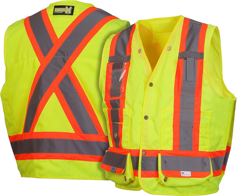 Large Polyester Lime Pyramex Safety RVZ2810L Rvz28 Series Hi-Vis Class 2 Safety Vest