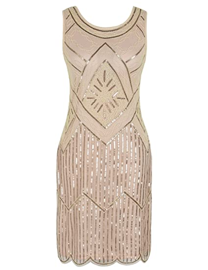 e2e4bc67963 kayamiya Women s 1920S Sequined Fringe Beaded Gatsby Flapper Prom Dress S  Champagne