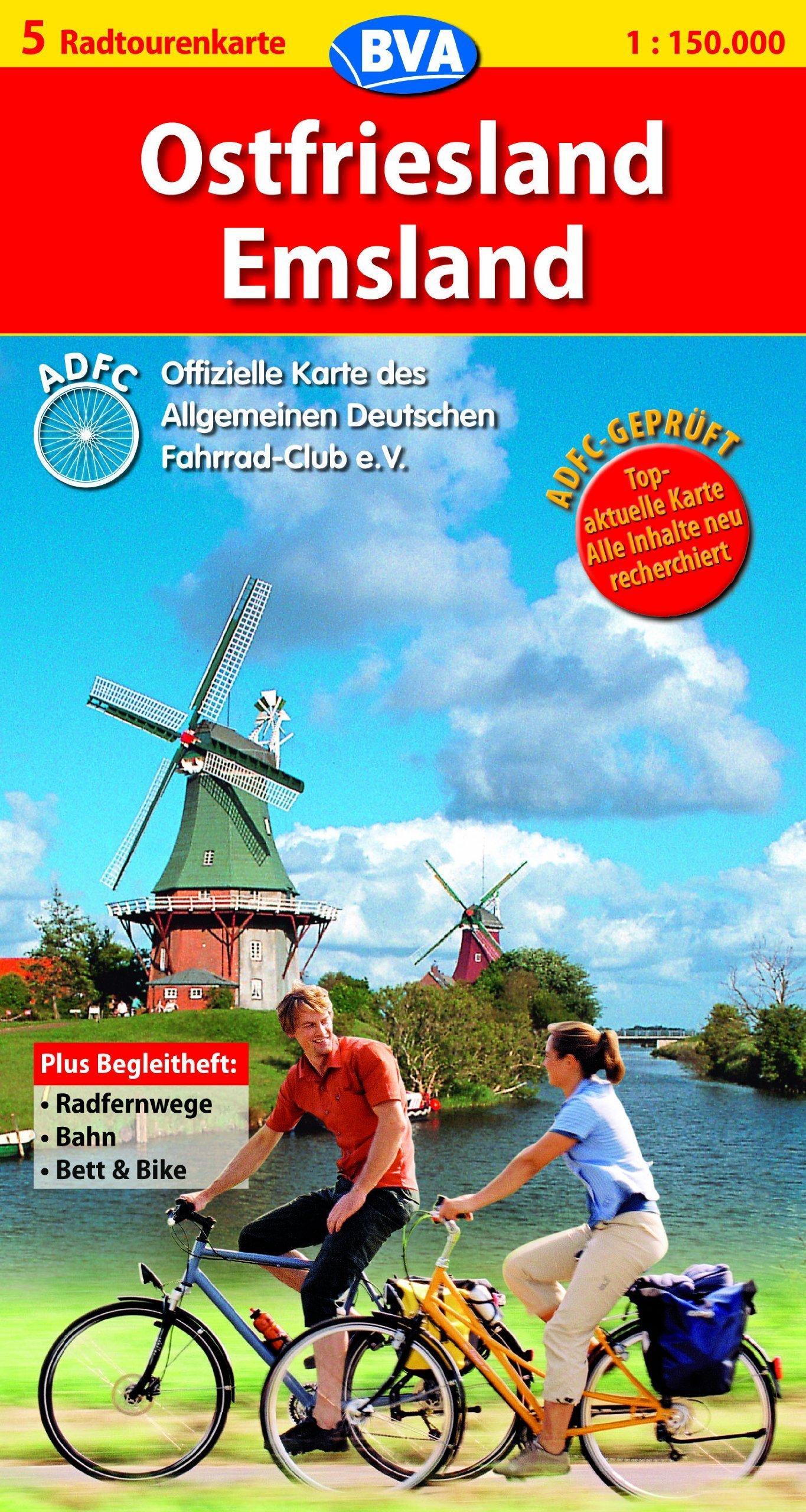 Ostfriesland / Emsland: ADFC-Radtourenkarte. Blatt 5. Maßstab 1:150.000