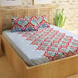 Story@Home Candy 120 TC 100% Cotton Red Roses Double Bed Sheet With 2 Pillow Covers, Floral