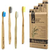 Bamboo Toothbrush by Derma Medico | Pack of 4 Beautifully Crafted Bamboo Toothbrushes with Rounded Handle - 3 Eco Toothbrushes + 1 Charcoal Bristle Toothbrush | Soft and Medium Bristles | Needle and