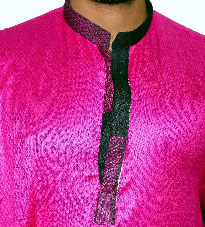 Lakkar Haveli Indian Pashmina Rayon Men/'s Kurta Shirt Handloom Plus Size Loose Fit Pink Color