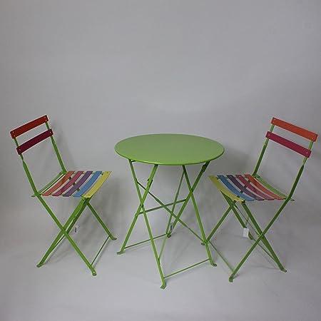 Lucht Jardín Mesa con Dos sillas, Metal Mobiliario de jardín Mesa Silla Set Verde: Amazon.es: Hogar