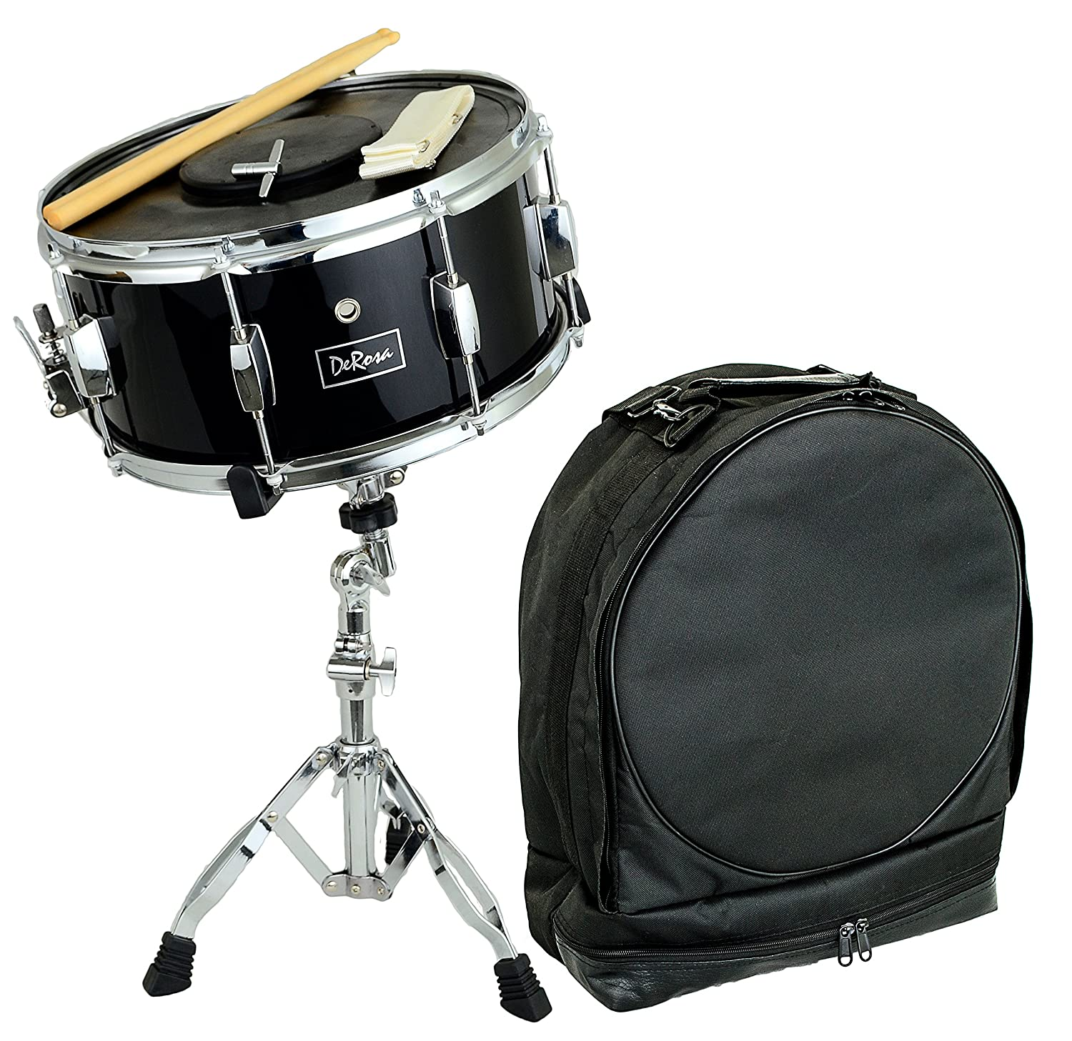 DeRosa DRMS14 Snare Drum Kit with Stand, Drumsticks, and Carrying Bag- BLack Bridgecraft DRMS14-BKQ