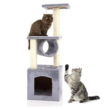 Árbol de actividades para gatos Cozy Pet Deluxe, centro de actividades, rascador con sisal resistente en color beis, gris y rosa