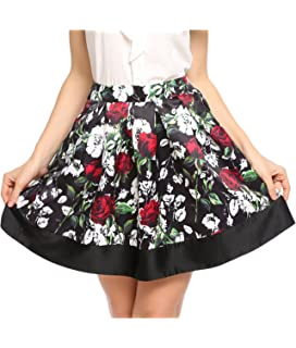 cb8f5956398 Zeagoo Women High Waisted Pleated Mini Floral Print Flared Pocket Swing  Vintage Skirts