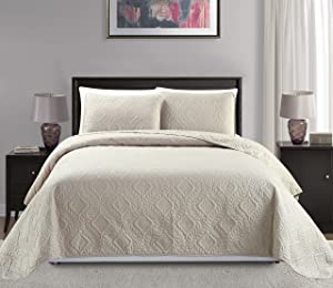 """Mk Collection King/California king over size 118""""x106"""" 3 pc Diamond Bedspread Bed-cover Embossed solid Beige New"""