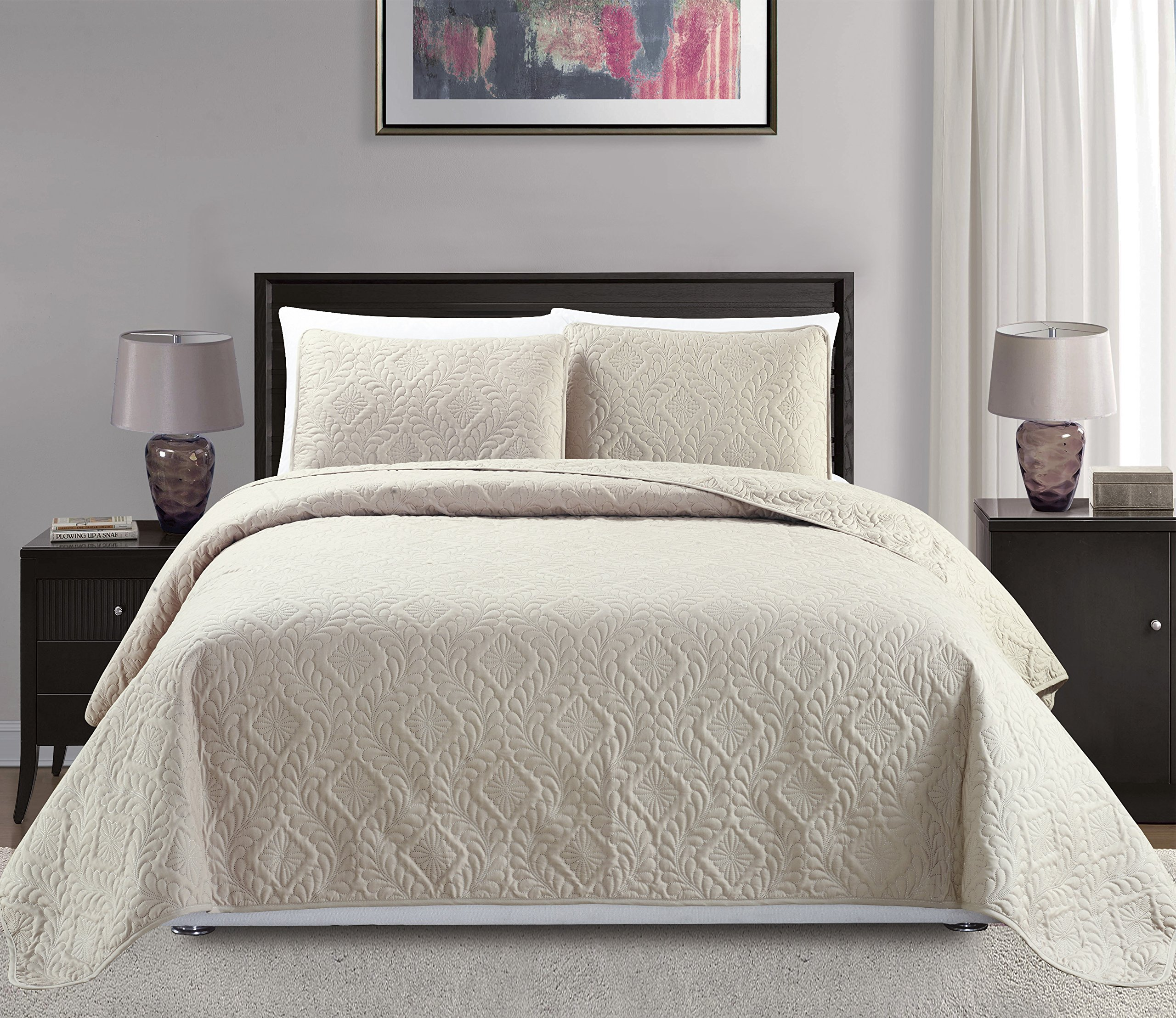 Mk Collection King/California king over size 118''x106'' 3 pc Diamond Bedspread Bed-cover Embossed solid Beige New