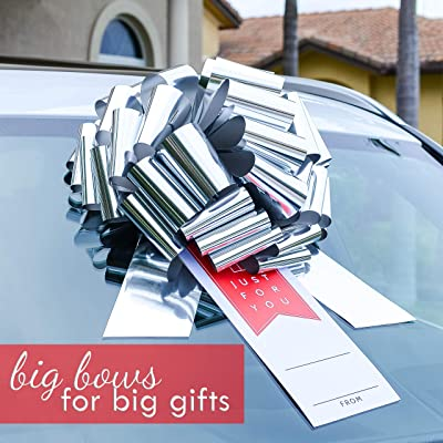 """CarBowz Big 16"""" Car Bow, Vinyl Sticker Gift Tag Included, Giant Pull Bow for Cars, Weather Resistant, Non-Scratch Suction Cup (Silver Bow with Red Just for You): Automotive"""