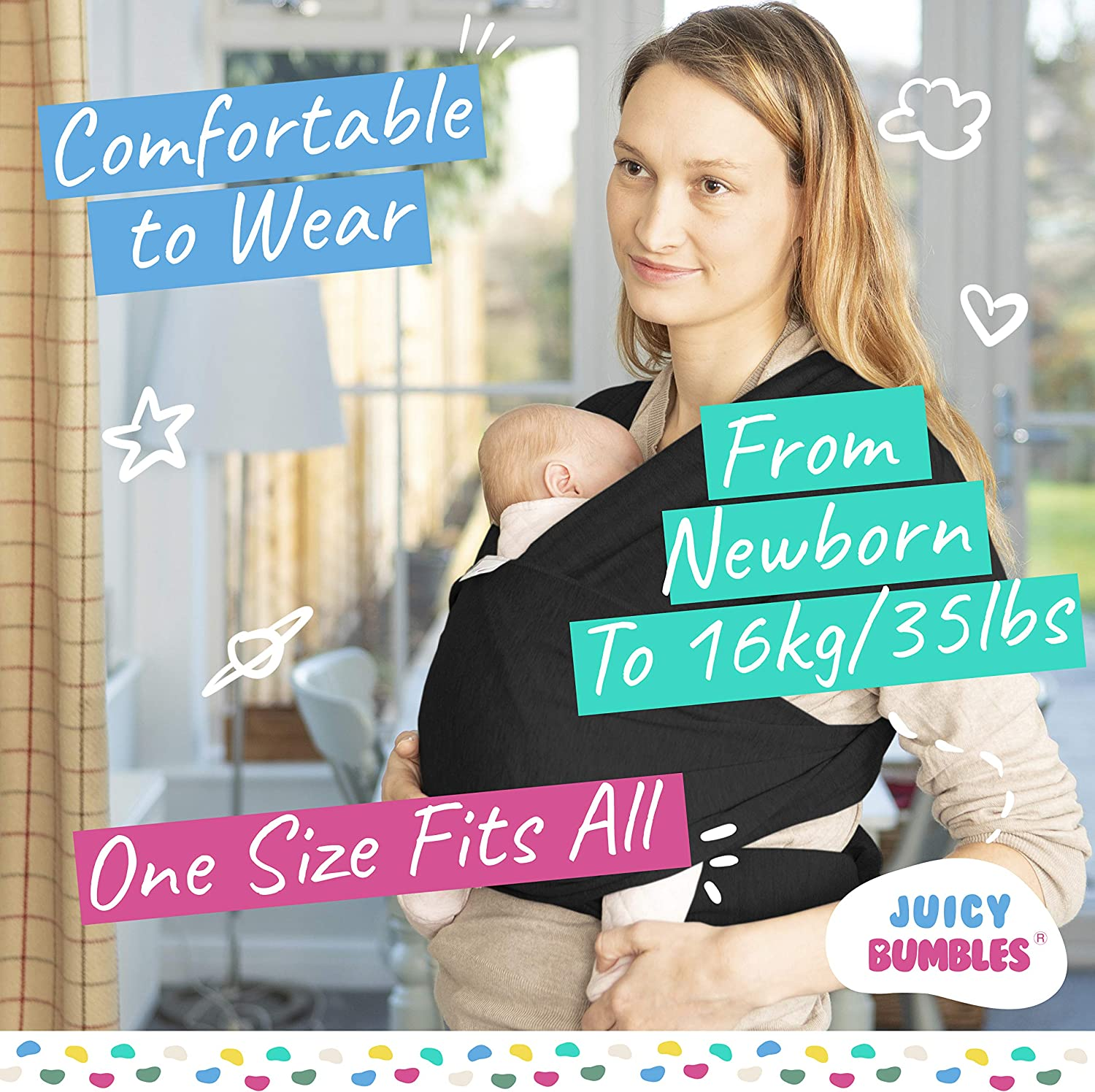 Baby Wrap Carrier Newborn to 35 lbs Infant with 3 Carrying Positions 95/% Cotton 5/% Spandex Baby Sling Black