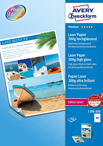 Avery España 1398-200 - Pack de 200 folios de papel fotográfico ...