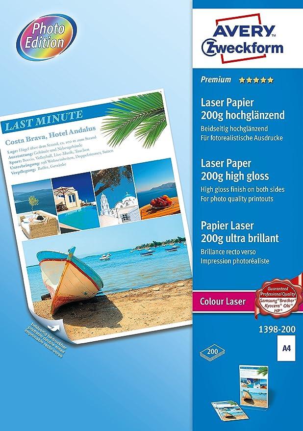 AVERY Zweckform 2598-200 Superior Colour Laser Papier A4, beidseitig beschichtet, gl/änzend, 150 g//m/², 200 Blatt