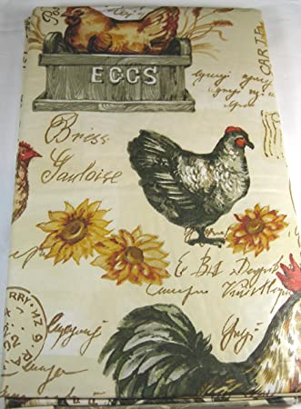 Flannel Back Vinyl Farm Animals Tablecloth Assorted Sizes Oblong And Round  (52 X 90 Oblong