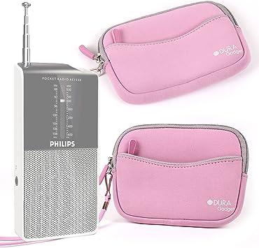 DURAGADGET Funda/Estuche De Neopreno Rosa para Radio Portátil Sony ICF-M260 / Sony ICF8S / AGPTek R08 + Correa De Mano: Amazon.es: Electrónica