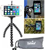 Flexible Tripod for iPhone SE 7 6s 6 5s 5c 5 4s 4 Galaxy S8 S7 S6 S5 S4 S3 S2 - Cellphone Tripod Adapter - Travel Bag - Mini Lightweight Bendable by DaVoice (Black/Gray)