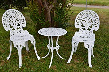 Angel White Garden Bistro Set   Table And Two Chairs For Yard, 3 Pieces  Product