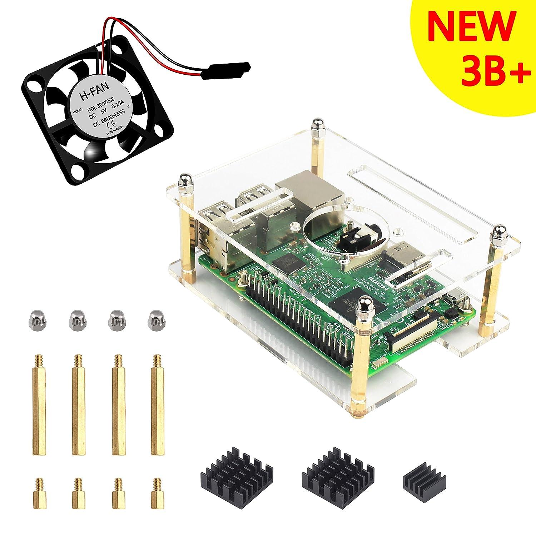 Para Raspberry Pi 3 Caja kit, Caja Claro de 1 Capa + Disipador de ...