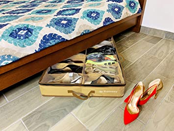 Sturdy Underbed Shoe Storage.Ramsay Under Under Bed Shoe Storage Organizer Strong And Sturdy Double Dust Free Design Space Saver 12 Pair Front Zippered Closure Beige