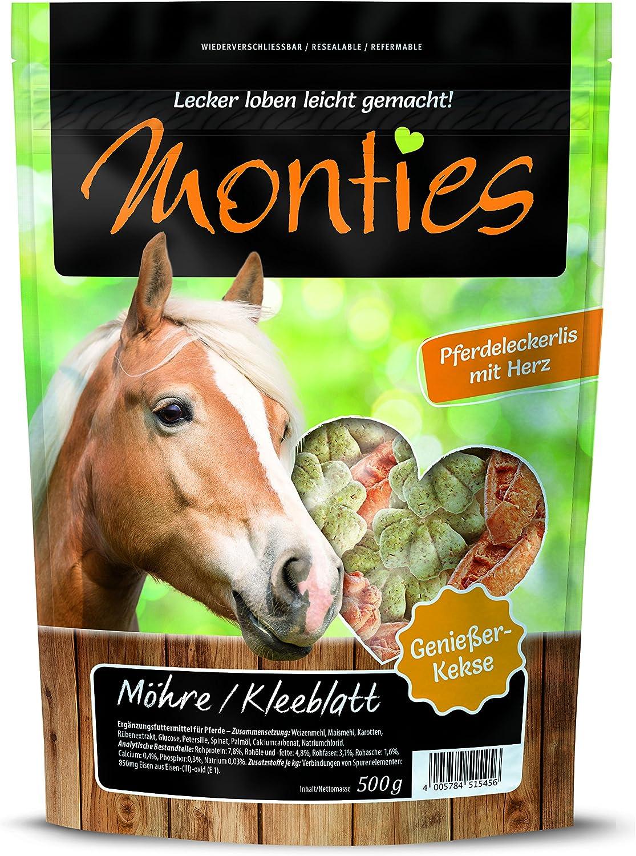 Monties Pferdeleckerlis, Möhre-/Kleeblatt-Snacks, Gebacken, tamaño Aprox. 4,3 cm de diámetro, 500 g de Galletas.