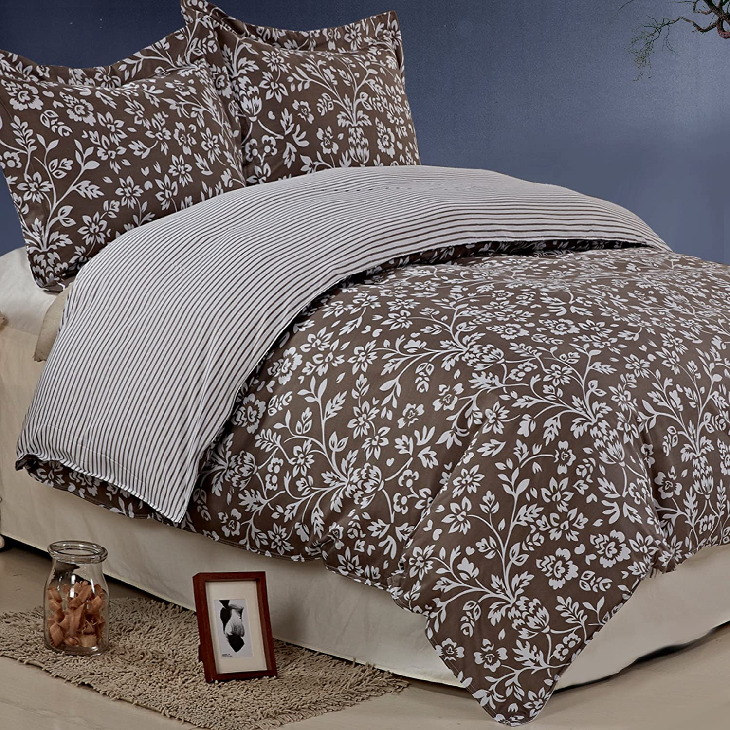 Brown Printed Floral Pattern Duvet Cover Sets Full Queen Size