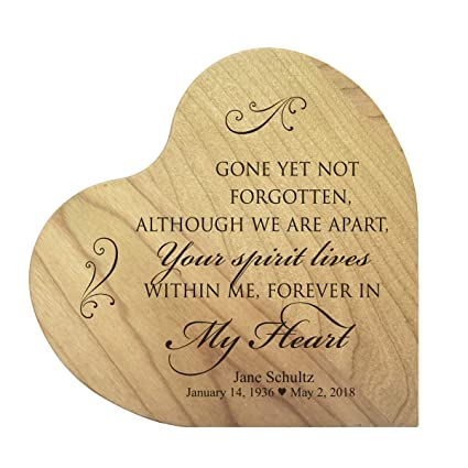 LifeSong Milestones Personalized Engraved Gone Yet Not Forgotten Maple Memorial Heart Block Custom Sympathy Gift Ideas
