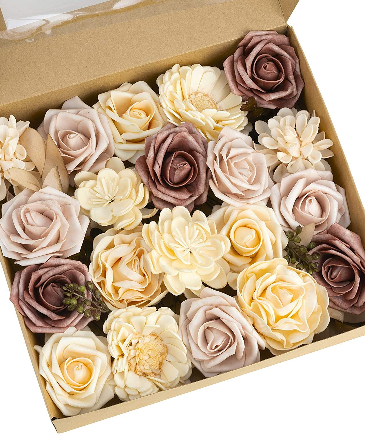 Dusty Rose Flowers - Artificial Flowers Combination for Vintage Wedding Decor Bouquets Centerpieces Home Decoration - Foam Flowers Roses Peonies with Stem for DIY Crafts - Handmade Floral Arrangement