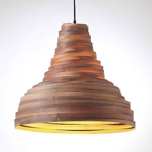Amazon Com Walnut Wood Veneer Bell Shaped Lamp Shade