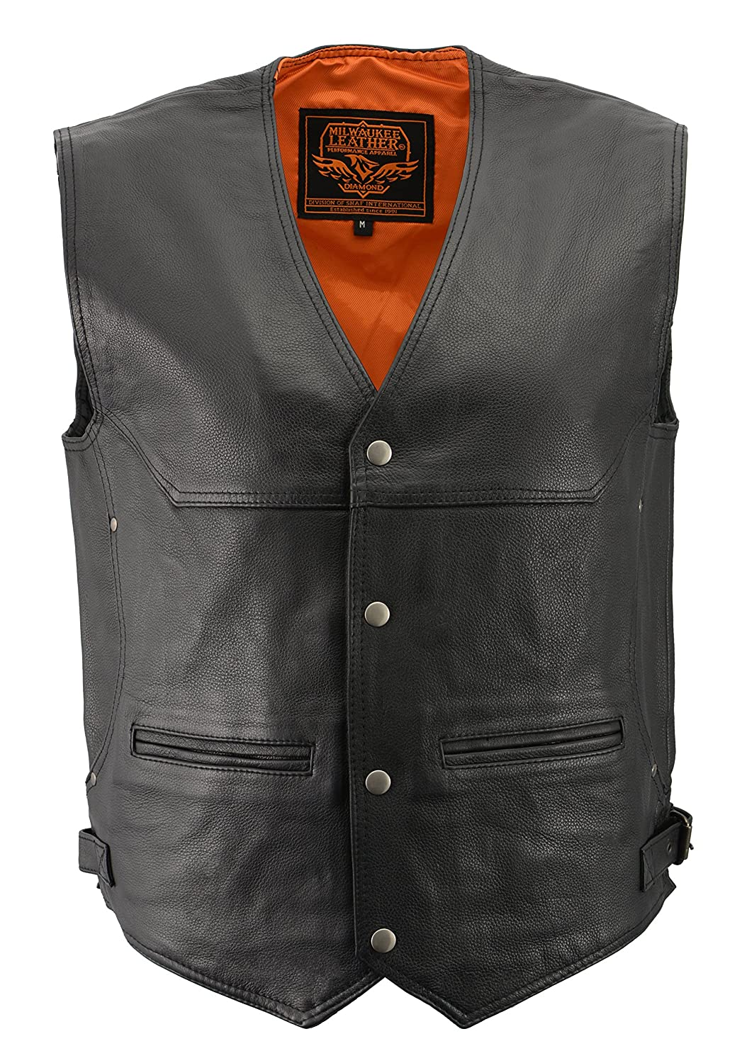 Milwaukee Men's Deep Pocket Leather Vest (Black, X-Large) Milwaukee Leather Milwaukee Men' s Deep Pocket Leather Vest (Black Shaf International Inc. ML1927-XL-BLACK