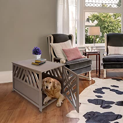 Casual Home Lattice Wooden Pet Crate End Table