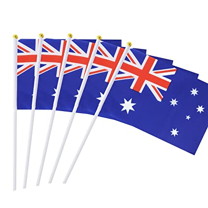 e9005059e3aa 50 Pack Hand Held Australia Flag Australian Flag Stick Flag Round Top  National Country Flags,