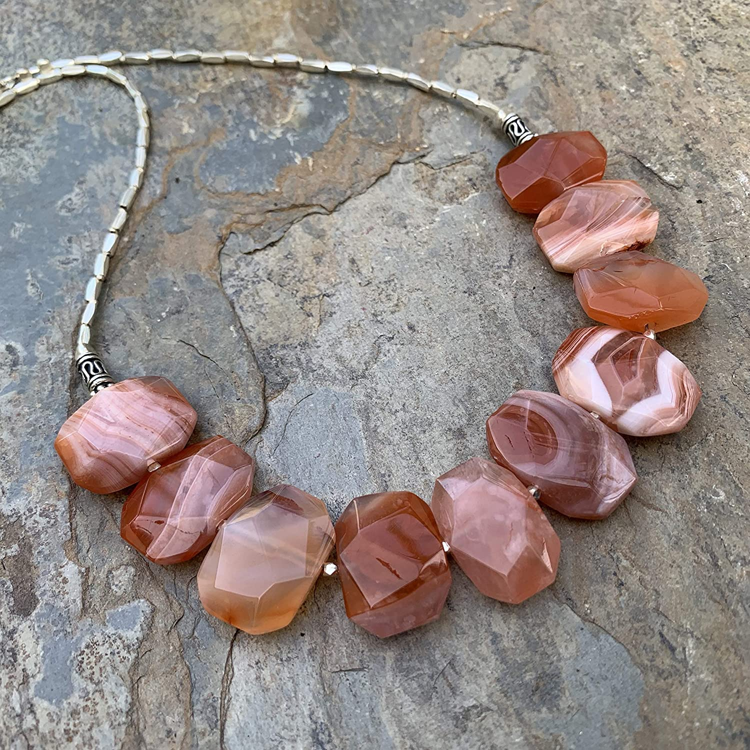18 inch Carnelian Nugget Necklace with Sterling Silver
