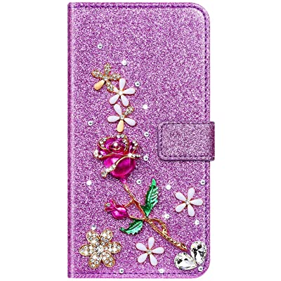 IKASEFU Compatible with Samsung Galaxy S5 Case Shiny Rhinestone Diamond Rose Flower Sparkly Bling Glitter Crystal Pu Leather Wallet With Card Holder Magnetic Flip Protective Cover Case Purple: Musical Instruments [5Bkhe0207219]