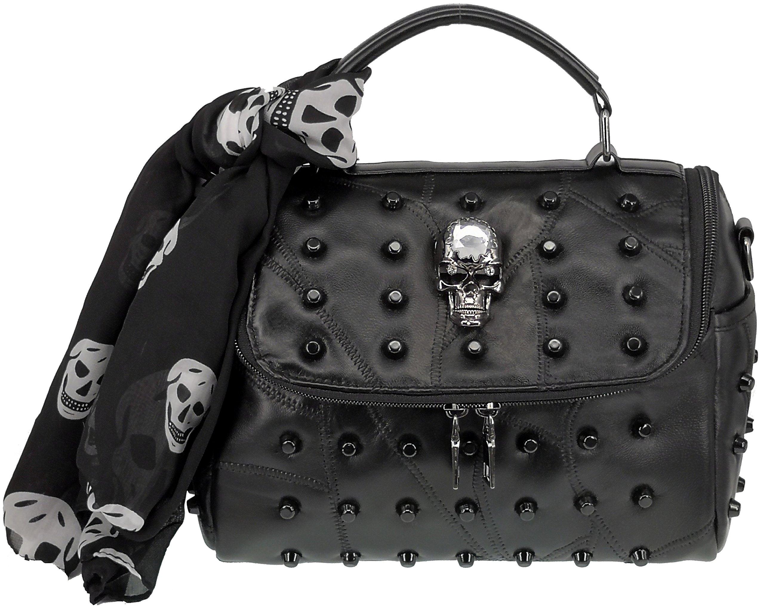 ABC STORY Women Punk Gothic Sheepskin Leather Retro Skull Shoulder Tote Handbag Purse with Scarf Black