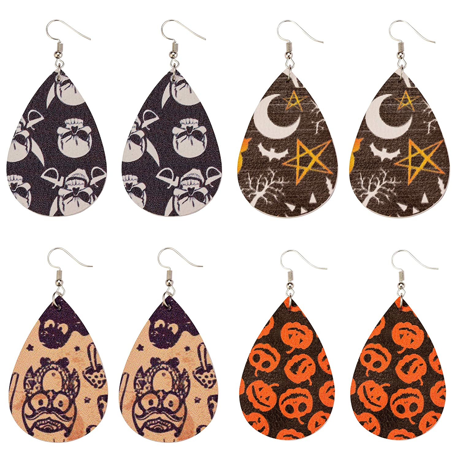 Halloween Earrings Pumpkin Theme Leather Earrings Teardrop Dangle Handmade Diy Unique Design 4 pair EXWEUP