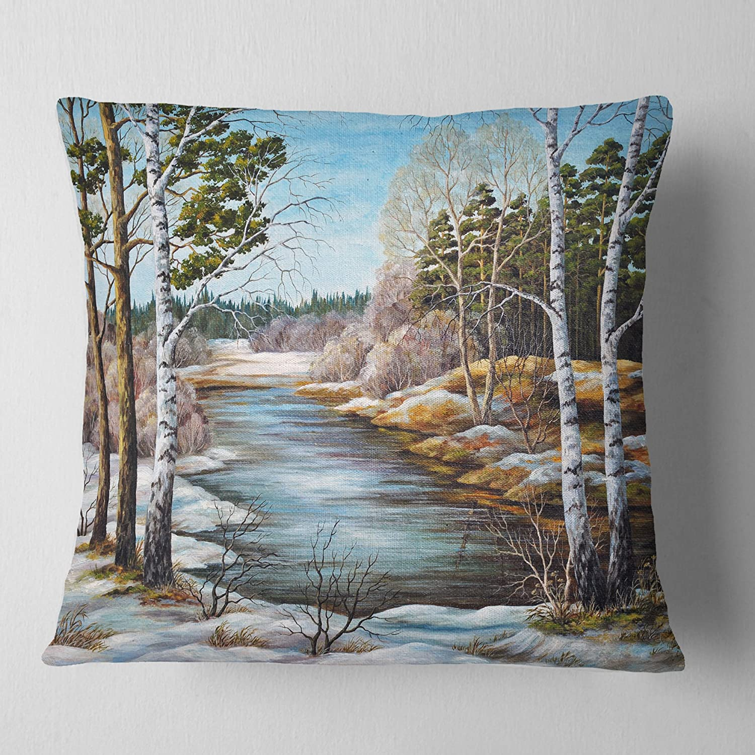 Sofa Throw Pillow 18 in in Designart CU6169-18-18 The Spring Siberian River Landscape Printed Cushion Cover for Living Room Insert Side x 18 in