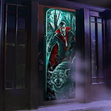 Halloween Decoration Spooky Door Panel Lights \u0026 Sounds Dracula Battery Operated ... & Amazon.com: Halloween Decoration Spooky Door Panel Lights \u0026 Sounds ...