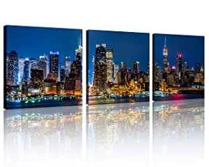 QICAI Wall Art Painting Beautiful New York City Skyline New York Night Light Prints On Canvas New York Canvas Cityscape The Picture NYC City Pictures Print on Canvas Paintings for Home Decor,3pcs/Set