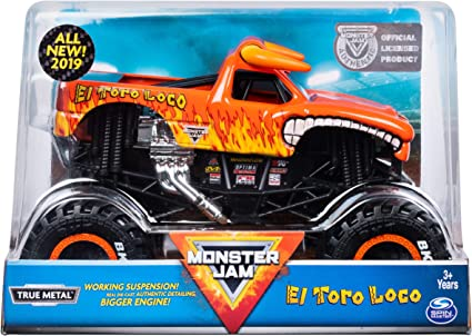 Amazon Com Mj Monster Jam Official El Toro Loco Monster Truck Die Cast Vehicle 1 24 Scale Toys Games