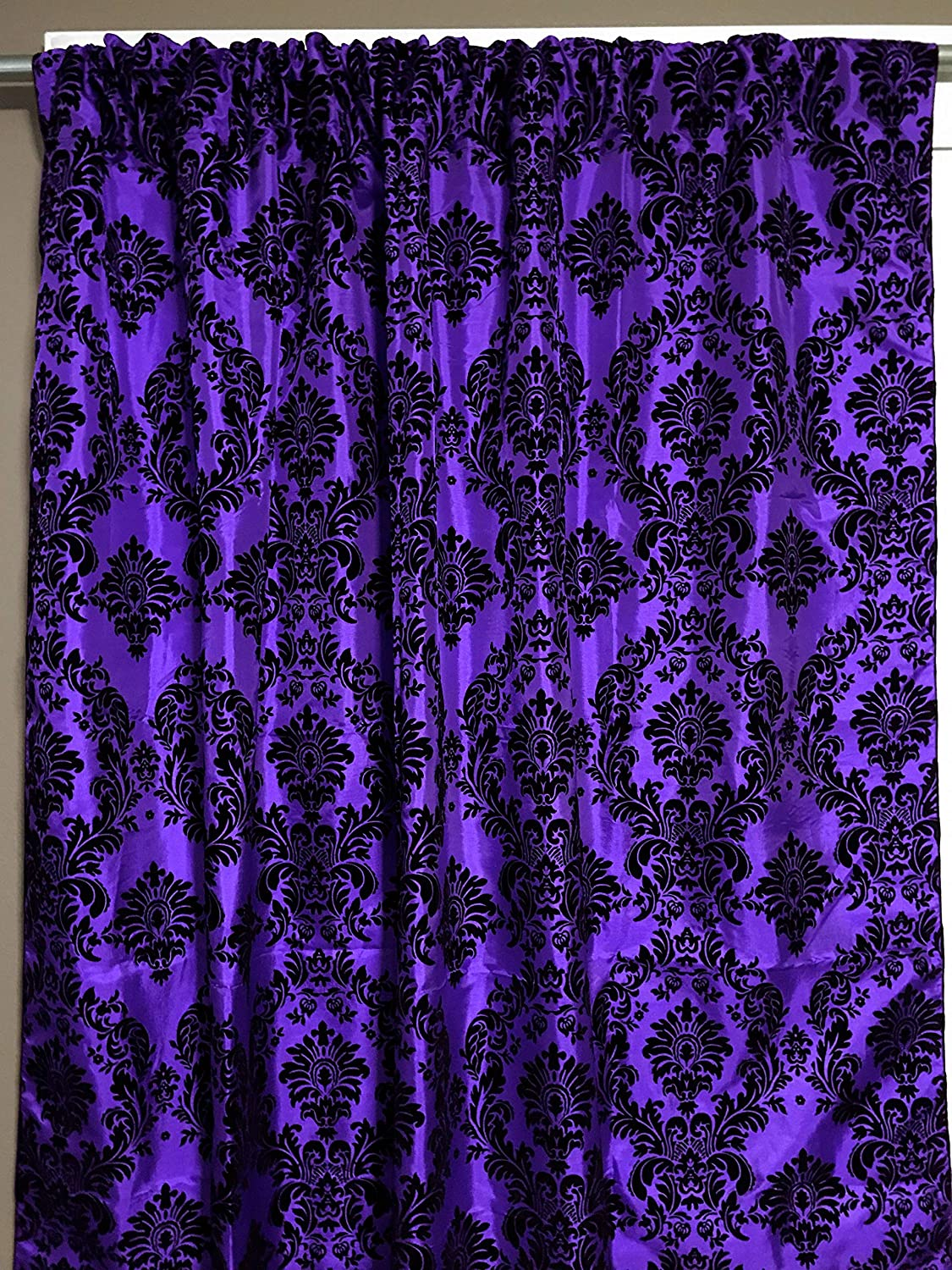 """Zen Creative Designs Damask Curtain Backdrop 58"""" Wide Panel/Party-Booth Photography Backdrop/Home Window Curtain Decor (Purple, 48"""" Tall)"""