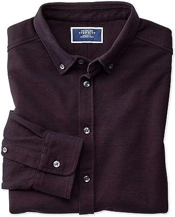 Charles Tyrwhitt Camisa Oxford Color Vino de Punto: Amazon.es ...
