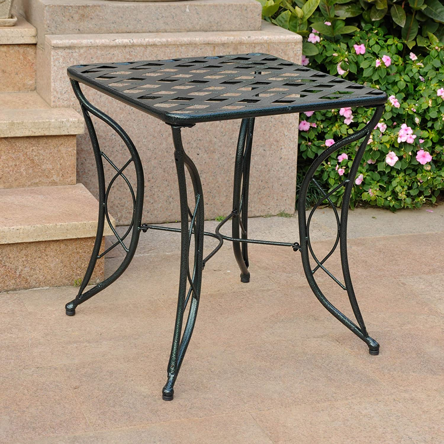 Diamond Lattice Iron Side Table – Verdi Gris